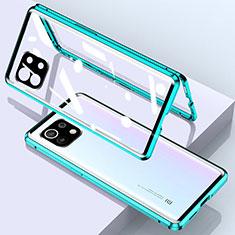 Custodia Lusso Alluminio Laterale Specchio 360 Gradi Cover per Xiaomi Mi 11 5G Verde