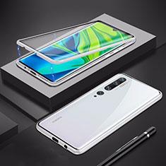 Custodia Lusso Alluminio Laterale Specchio 360 Gradi Cover per Xiaomi Mi Note 10 Argento