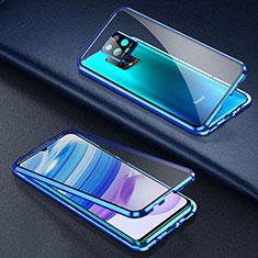 Custodia Lusso Alluminio Laterale Specchio 360 Gradi Cover per Xiaomi Redmi 10X Pro 5G Blu