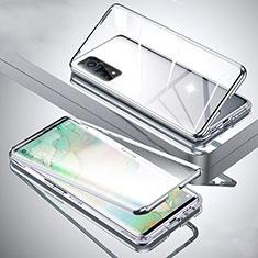 Custodia Lusso Alluminio Laterale Specchio 360 Gradi Cover per Xiaomi Redmi K30S 5G Argento