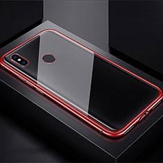 Custodia Lusso Alluminio Laterale Specchio 360 Gradi Cover per Xiaomi Redmi Note 7 Pro Rosso