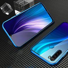 Custodia Lusso Alluminio Laterale Specchio 360 Gradi Cover per Xiaomi Redmi Note 8 Blu