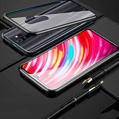 Custodia Lusso Alluminio Laterale Specchio 360 Gradi Cover per Xiaomi Redmi Note 8 Pro Nero
