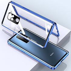 Custodia Lusso Alluminio Laterale Specchio 360 Gradi Cover per Xiaomi Redmi Note 9 Blu