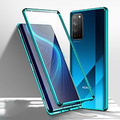 Custodia Lusso Alluminio Laterale Specchio 360 Gradi Cover T01 per Huawei Honor X10 5G Verde
