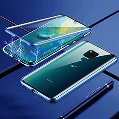 Custodia Lusso Alluminio Laterale Specchio 360 Gradi Cover T01 per Huawei Mate 20 X 5G Blu