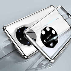 Custodia Lusso Alluminio Laterale Specchio 360 Gradi Cover T01 per Huawei Mate 40 RS Bianco