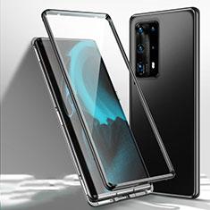 Custodia Lusso Alluminio Laterale Specchio 360 Gradi Cover T01 per Huawei P40 Pro+ Plus Nero
