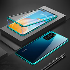 Custodia Lusso Alluminio Laterale Specchio 360 Gradi Cover T01 per Huawei P40 Verde