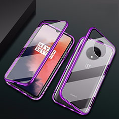 Custodia Lusso Alluminio Laterale Specchio 360 Gradi Cover T01 per OnePlus 7T Viola
