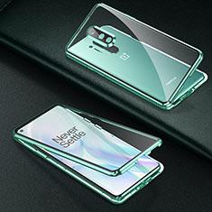 Custodia Lusso Alluminio Laterale Specchio 360 Gradi Cover T01 per OnePlus 8 Pro Verde