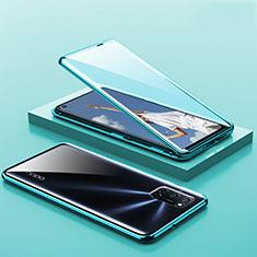 Custodia Lusso Alluminio Laterale Specchio 360 Gradi Cover T01 per Oppo A52 Verde