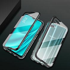 Custodia Lusso Alluminio Laterale Specchio 360 Gradi Cover T01 per Oppo RX17 Neo Nero