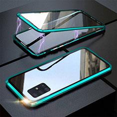 Custodia Lusso Alluminio Laterale Specchio 360 Gradi Cover T01 per Samsung Galaxy A51 5G Ciano