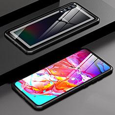 Custodia Lusso Alluminio Laterale Specchio 360 Gradi Cover T01 per Samsung Galaxy A70 Nero