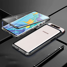 Custodia Lusso Alluminio Laterale Specchio 360 Gradi Cover T01 per Samsung Galaxy A80 Nero