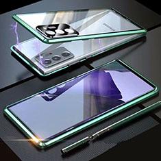Custodia Lusso Alluminio Laterale Specchio 360 Gradi Cover T01 per Samsung Galaxy Note 20 Ultra 5G Verde