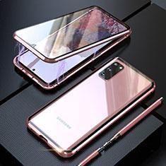 Custodia Lusso Alluminio Laterale Specchio 360 Gradi Cover T01 per Samsung Galaxy S20 5G Oro Rosa
