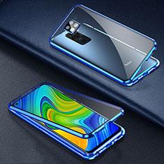 Custodia Lusso Alluminio Laterale Specchio 360 Gradi Cover T01 per Xiaomi Redmi 10X 4G Blu