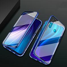 Custodia Lusso Alluminio Laterale Specchio 360 Gradi Cover T01 per Xiaomi Redmi Note 8 Blu