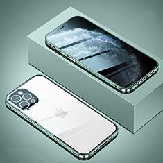 Custodia Lusso Alluminio Laterale Specchio 360 Gradi Cover T02 per Apple iPhone 12 Pro Max Verde Pastello