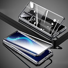 Custodia Lusso Alluminio Laterale Specchio 360 Gradi Cover T02 per Huawei Honor X10 5G Nero