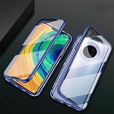 Custodia Lusso Alluminio Laterale Specchio 360 Gradi Cover T02 per Huawei Mate 30E Pro 5G Blu