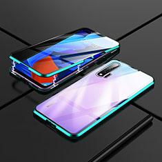 Custodia Lusso Alluminio Laterale Specchio 360 Gradi Cover T02 per Huawei Nova 6 5G Ciano