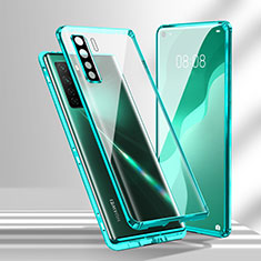 Custodia Lusso Alluminio Laterale Specchio 360 Gradi Cover T02 per Huawei Nova 7 SE 5G Ciano