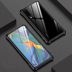 Custodia Lusso Alluminio Laterale Specchio 360 Gradi Cover T02 per Huawei P30 Nero