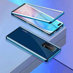 Custodia Lusso Alluminio Laterale Specchio 360 Gradi Cover T02 per Huawei P40 Pro+ Plus Blu