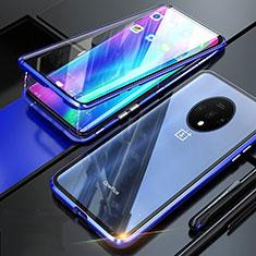 Custodia Lusso Alluminio Laterale Specchio 360 Gradi Cover T02 per OnePlus 7T Blu