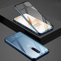 Custodia Lusso Alluminio Laterale Specchio 360 Gradi Cover T02 per OnePlus 8 Blu