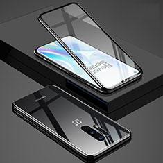 Custodia Lusso Alluminio Laterale Specchio 360 Gradi Cover T02 per OnePlus 8 Pro Nero