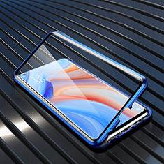 Custodia Lusso Alluminio Laterale Specchio 360 Gradi Cover T02 per Oppo Reno4 5G Blu
