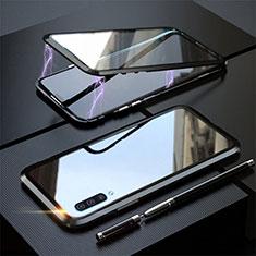 Custodia Lusso Alluminio Laterale Specchio 360 Gradi Cover T02 per Samsung Galaxy A70S Nero