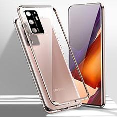 Custodia Lusso Alluminio Laterale Specchio 360 Gradi Cover T02 per Samsung Galaxy Note 20 Ultra 5G Bronze
