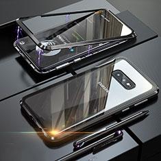 Custodia Lusso Alluminio Laterale Specchio 360 Gradi Cover T02 per Samsung Galaxy S10e Nero