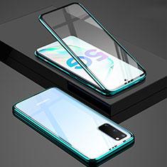 Custodia Lusso Alluminio Laterale Specchio 360 Gradi Cover T02 per Samsung Galaxy S20 5G Verde