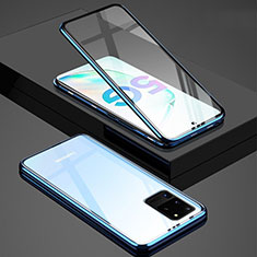 Custodia Lusso Alluminio Laterale Specchio 360 Gradi Cover T02 per Samsung Galaxy S20 Ultra 5G Blu