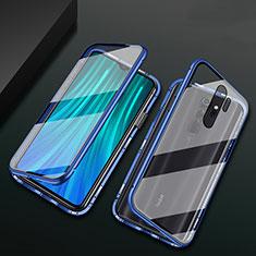 Custodia Lusso Alluminio Laterale Specchio 360 Gradi Cover T02 per Xiaomi Redmi Note 8 Pro Blu