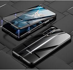 Custodia Lusso Alluminio Laterale Specchio 360 Gradi Cover T03 per Huawei Honor 20 Pro Nero
