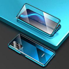 Custodia Lusso Alluminio Laterale Specchio 360 Gradi Cover T03 per Huawei Honor X10 5G Cielo Blu