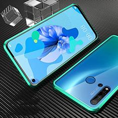 Custodia Lusso Alluminio Laterale Specchio 360 Gradi Cover T03 per Huawei P20 Lite (2019) Ciano