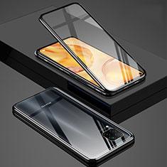 Custodia Lusso Alluminio Laterale Specchio 360 Gradi Cover T03 per Huawei P40 Lite Nero