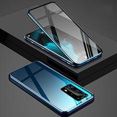 Custodia Lusso Alluminio Laterale Specchio 360 Gradi Cover T03 per Huawei P40 Pro+ Plus Blu