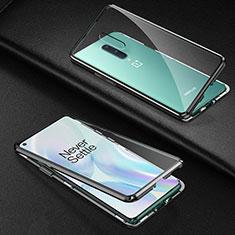 Custodia Lusso Alluminio Laterale Specchio 360 Gradi Cover T03 per OnePlus 8 Nero