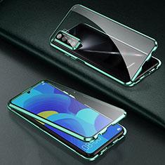 Custodia Lusso Alluminio Laterale Specchio 360 Gradi Cover T03 per Oppo Find X2 Lite Verde