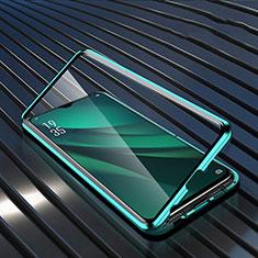 Custodia Lusso Alluminio Laterale Specchio 360 Gradi Cover T03 per Oppo R17 Pro Verde