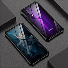 Custodia Lusso Alluminio Laterale Specchio 360 Gradi Cover T04 per Huawei Honor 20 Pro Nero